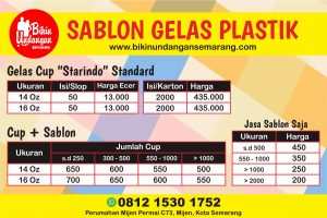 harga sablon gelas plastik semarang